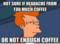 "NOT SURE IFHEADACHE FROM  TOO MUCH COFFEE  OR NOT ENOUGH COFFEE If you like this - please ""like"" our page http://www.facebook.com/WhatYouToo"