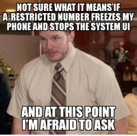Reddit, Guess, and Means: NOT SURE WHAT IT MEANS I  A RESTRICTED NUMBER FREEZES MY  PHONEAND STOPSTHE SYSTEMU  IM AFRAID TOASK