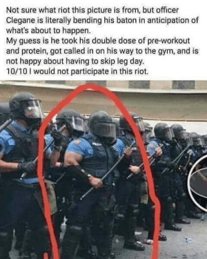 Dank, Gym, and Memes: Not sure what riot this picture is from, but officer  Clegane is literally bending his baton in anticipation of  what's about to happen.  My guess is he took his double dose of pre-workout  and protein, got called in on his way to the gym, and is  not happy about having to skip leg day.  10/10 would not participate in this riot. Just gonna sit this one out. by SchitzPopinov719 MORE MEMES