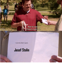 Josef Stalin allows the NKVD to conduct searches during the Reign of Terror (ca 1948, colourized): Not to worry  have a permit  I can do what I want.  Jasef Stalin Josef Stalin allows the NKVD to conduct searches during the Reign of Terror (ca 1948, colourized)