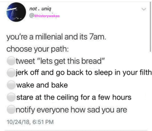 "blackholesandrevelations: reducedlunch: this post came into my house, took me by the ankles and swung me into every available surface   I didn't read the first part and thought this was a to-do list : not. uniq  @ehistorywakes  you're a millenial and its 7am  choose your path:  tweet ""lets get this bread""  jerk off and go back to sleep in your filth  wake and bake  stare at the ceiling for a few hours  notify everyone how sad you are  10/24/18, 6:51 PM blackholesandrevelations: reducedlunch: this post came into my house, took me by the ankles and swung me into every available surface   I didn't read the first part and thought this was a to-do list"