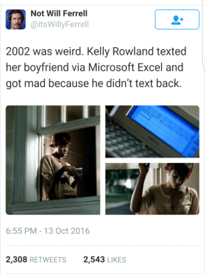 Microsoft, Microsoft Excel, and Weird: Not Will Ferrell  @itsWillyFerrell  2002 was weird. Kelly Rowland texted  her boyfriend via Microsoft Excel and  got mad because he didn't text back.  6:55 PM-13 Oct 2016  2,308 RETWEETS2,543 LIKES