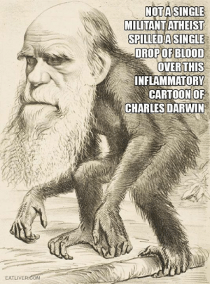 """atheistjack:  viaMichel Bourgois  """"No no no human irrationality isn't made worse with religion not at all"""" they say HAHAHAHAHA: NOTASINGLE  MILITANT ATHEIST  SPILLEDA SINGLE  DROP OF BLOOD  OVER THIS  INFLAMMATORY  CARTOON OF  CHARLES DARWIN  EATLIVER.COM atheistjack:  viaMichel Bourgois  """"No no no human irrationality isn't made worse with religion not at all"""" they say HAHAHAHAHA"""