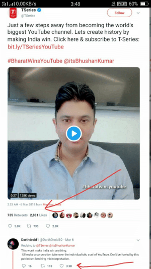 Click, Lmao, and youtube.com: NOTE] 60%  IlI 0.00KB/S  TSeries  @TSeries  3:48  Follow  Just a few steps away from becoming the world's  biggest YouTube channel. Lets create history by  making India win. Click here & subscribe to T-Series:  bit.ly/TSeriesYouTube  #BharatWinsYouTube @itsBhushanKumar  bharatwinsyoutube  0:27 128K views  2:33 AM-6 Mar 2019 from Mu  735 Retweets 2,831 Likes  %浪  5.8K  735  2.8K  Darthdroid1 @DarthDroid10 Mar 6  Replying to @TSeries @itsBhushanKumar  This won't make India win anything.  It'll make a corporation take over the individualistic soul of YouTube. Don't be fooled by this  patriotism leeching misinterpretation.  16 113 3.9K LMAO