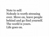 Vours: Note to self:  Nobody is worth stressing  over. Move on, leave people  behind and go find yourself.  The world is vours.  Life goes on.