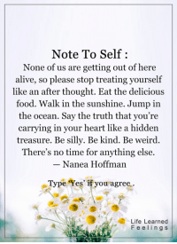 <3: Note To Self  None of us are getting out of here  alive, so please stop treating yourself  like an after thought. Eat the delicious  food. Walk in the sunshine. Jump in  the ocean. Say the truth that you're  carrying in your heart like a hidden  treasure. Be silly. Be kind. Be weird  There's no time for anything else.  Nanea Hoffman  Type Yes if you agree  Life Learned  F e e l i n g s <3