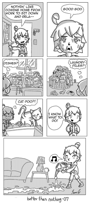 God, Laundry, and Omg: NOTHIN' LIKE  COMING HOME FROM  WORK TO SIT DOWN  AND RELA--  GOOD GOD  LAUNDRY  PILES?  CAT POO?!  I KNOW  WHAT TOO  DO!  better than nothing-07 omg-images:  07 Responsibilities [OC]