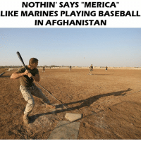 "Baseball, Memes, and Afghanistan: NOTHIN' SAYS ""MERICA  LIKE MARINES PLAYING BASEBALL  IN AFGHANISTAN Merica 🇺🇸 https://t.co/7R0PGf48QT"