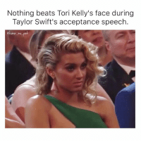 Shout out to the control room for getting that perfect shot. 😂 grammys: Nothing beats Tori Kelly's face during  Taylor Swift's acceptance speech.  @humor me pin Shout out to the control room for getting that perfect shot. 😂 grammys