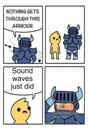 You should've ignored him: NOTHING GETS  THROUGH THI  ARMOUR  Sound  waves  just did  Listen here, you-  little shit You should've ignored him