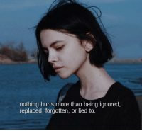 Being Ignored: nothing hurts more than being ignored,  replaced, forgotten, or lied to.