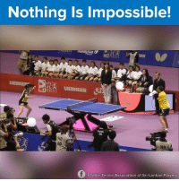 Dank, Tennis, and Impossibility: Nothing is Impossible!  PERFECT  D  LIEBHE  LIEBHERR  08  60  HB  f Table Tennis Association of Sri-Lankan Players Wow! :o #onedip