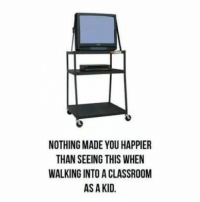 Dank, Classroom, and 🤖: NOTHING MADE YOU HAPPIER  THAN SEEING THIS WHEN  WALKING INTO A CLASSROOM  AS A KID.