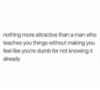 Dumb, Memes, and 🤖: nothing more attractive than a man who  teaches you things without making you  feel like you're dumb for not knowing it  already I'll always value a man that can teach me something