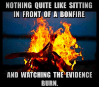 Quite, Evidence, and Bonfire: NOTHING QUITE LIKE SITTING  IN FRONT OF A BONFIRE  AND WATCHING THE EVIDENCE  BURN.