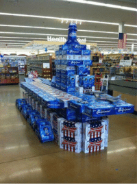"America, Beer, and Memes: Nothing says ""America"" more than a Aircraft Carrier made out of beer cases 🇺🇸🦅 https://t.co/15AMkkLENj"
