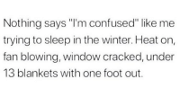 "Confused, Facts, and Winter: Nothing says ""I'm confused"" like me  trying to sleep in the winter. Heat on,  fan blowing, window cracked, under  13 blankets with one foot out. Facts! 😤😫 https://t.co/TxUnJVf10I"