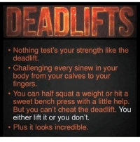 This 💯: Nothing test's your strength like the  deadlift.  Challenging every sinew in your  body from your calves to your  fingers.  . You can half squat a weight or hit a  sweet bench press with a little help.  But you can't cheat the deadlift. You  either lift it or you don't.  . Plus it looks incredible. This 💯