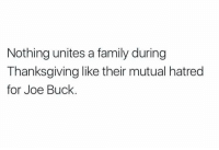 https://t.co/U8fieUO8Pa: Nothing unites a family during  Thanksgiving like their mutual hatred  for Joe Buck https://t.co/U8fieUO8Pa
