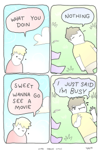 """Omg, Tumblr, and Blog: NOTHING  WHAT YoU  DOIN  VM  I JUST SAID  M BUSY  SWEET  WANNA Go  SEE A  MOVIE  EXTRA FABuLoS coMICS <p><a href=""""https://omg-images.tumblr.com/post/165814775302/doing-nothing"""" class=""""tumblr_blog"""">omg-images</a>:</p>  <blockquote><p>doing nothing</p></blockquote>"""