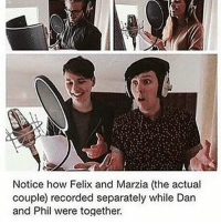 """Memes, Pineapple, and Record: Notice how Felix and Marzia (the actual  couple recorded separately while Dan  and Phil were together. So wants the big deal about the whole """"pineapple pen"""" thing. I keep seeing posts about it but I don't really get any of them."""