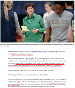 "Basketball, Head, and News: Notre Dame women's basketball team head coach Muffet McGraw explained why she was done hiring men and said there needed to be more opportunity  for women. (AP)  Muffet McGraw, the head coach of the Notre Dame women's basketball team, explained  why she plans on no longer hiring men.  In a recent interview with Think Progress, the 63-year-old Hall of Fame coach, said she  would never hire another male assistant coach and believed women can do more to help  each other. When asked by the media outlet if she ever planned on hiring another male  coach, she said, ""No."" McGraw has had an all-female staff for the past seven years  Women need the opportunity. They deserve the opportunity,"" she said.  On Thursday, McGraw was asked about her recent comments.  ""Did you know that the Equal Rights Amendment was introduced in 1967 and it still hasn't  passed?"" she replied. ""We need 38 states to agree that discrimination on the basis of sex  is unconstitutional.We've had a record number of women running for office and winning,  and still we have 23 percent of the House and 25 percent of the Senate. ""Discrimination on the basis of sex is unconstitutional."" She said it herself (via Fox News)"