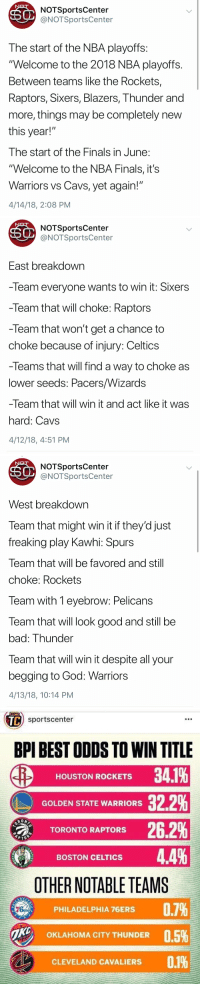 "That awkward moment when you're better than the network you parody at making predictions   (CC: @OldTakesExposed) https://t.co/TDZLNQiHIc: NOTSportsCenter  @NOTSportsCenter  The start of the NBA playoffs  ""Welcome to the 2018 NBA playoffs  Between teams like the Rockets,  Raptors, Sixers, Blazers, Thunder and  more, things may be completely new  this year!  I he start of the Finals in June  ""Welcome to the NBA Finals, it's  Warriors vs Cavs, yet again!""  4/14/18, 2:08 PM   NOTSportsCenter  @NOTSportsCenter  East breakdown  -Team everyone wants to win it: Sixers  -Team that will choke: Raptors  -Team that won't get a chance to  choke because of injury: Celtics  -leams that will find a way to choke as  lower seeds: Pacers/Wizards  -leam that Will win it and act like it was  hard: Cavs  4/12/18, 4:51 PM   NOTSportsCenter  @NOTSportsCenter  West breakdown  Team that might win it if they'd just  freaking play Kawhi: Spurs  Team that will be favored and still  choke: Rockets  leam with T eyebrow: Pelicans  Team that will look good and still be  bad: Thunder  leam that will win it despite all your  begging to God: Warriors  4/13/18, 10:14 PM   TC  sportscenter  BPI BEST ODDS TO WIN TITLE  HOUSTON ROCKETS 341%  GOLDEN STATE WARRIORS 32.2%  TORONTO RAPTORS 262%  BOSTON CELTICS 44%  OTHER NOTABLE TEAMS  0.7%  PHILADELPHIA 76ERS  ONE  0.5%  OKLAHOMA CITY THUNDER  CLEVELAND CAVALIERS That awkward moment when you're better than the network you parody at making predictions   (CC: @OldTakesExposed) https://t.co/TDZLNQiHIc"