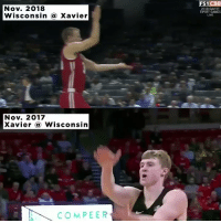 Memes, Games, and Live: Nov. 2018  Wisconsin @ Xavier  FS1CBB  2018 GAVITT  TIPOFF GAMES  LIVE  Nov. 2017  Xavier Wisconsin  COMPEER .@BadgerMBB's Brad Davison holds grudges. https://t.co/my7poRXWNE
