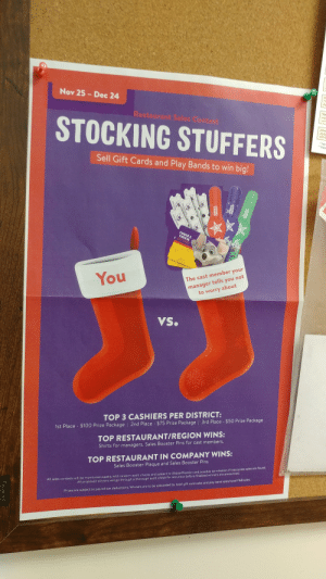 I hate my job: Nov 25 Dec 24  de  Restaurant Saies Contest  an  STOCKING STUFFERS  tems  diaplay  600/  Test  Depe  Sell Gift Cards and Play Bands to win big!  CHUCK E  CHEESE  GIFT CARD  manager tells you not  about  to worry  You  The cast member your  VS.  TOP 3 CASHIERS PER DISTRICT:  1st Place $100 Prize Package | 2nd Place $75 Prize Package 3rd Place - $50 Prize Package  TOP RESTAURANT/REGION WINS:  Shirts for managers. Sales Booster Pins for cast members.  TOP RESTAURANT IN COMPANY WINS:  Sales Booster Plaque and Sales Booster Pins  All sales contests will be monitored weekly with random audit checks and subject to disqualification and possible termination if inaccurate sales are found.  All proposed winners will go through a thorough audit check for accuracy before finalized winners are announced.  Prizes are subject to payroll tax deductions, Winners are to be calculated by total gift card sales and play band sales/total F&8 sales.  CHELS  3DOCE  5355  3DAK  CHCKECESE  Quartet I hate my job