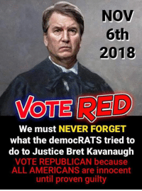 Memes, Justice, and Never: NOV  6th  2018  VOTE RED  We must NEVER FORGET  what the democRATS tried to  do to Justice Bret Kavanaugh  VOTE REPUBLICAN because  ALL AMERICANS are innocent  until proven guilty