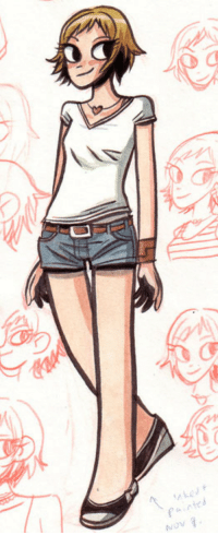 Target, Tumblr, and Blog: NOV radiomaru: Early sketchbook drawing of Lisa Miller from Scott Pilgrim Gets It Together  Ink and watercolor, 2006  #archives