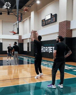 Just a video of Devin Booker making 45 STRAIGHT THREES!   🎥 @Suns https://t.co/pgA6OIH8nJ: NOVANT  GUEST  AME  CHARLOTTE  HORTGET Just a video of Devin Booker making 45 STRAIGHT THREES!   🎥 @Suns https://t.co/pgA6OIH8nJ