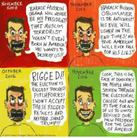"""The evolution of Trump supporters...: NOVEMBER  NOVEMBER  BARACK HusseIN  2008  2012,  OBAMA WILL NEVER  BE MD PRESIDENT/  THAT MUSLIM  TERRORIST  WASN'T EVEN  BORN IN AMERICA  HE WANTSTO  PESTROy usll  OCTOBER  2016  ELECTION IS  THE  RIGGED TORCHESI  PITCH FORKS!  THESE RIGGED  RESULTS AND  2016 Jason """"Danger"""" Block  Rights Reserved  BARACK HUSSEIN  OBUN MER  IS THE ANTICHRIST!  HIS EVIL WILL  USHER IN THE  END TIMES! No  TRUE AMERICAN  WILL EVER FALL  FOR HIS LIES  Look, THIS IS THE  FACE of DEMOCRACY  THE PEOPLE HAVE  SPOKEN THRaGH  THE ELECTORAL  COLLEGE AND NOW  IT's TIME FOR ALL  OF US TO UNITE  BEHIND OUR  NEW PRESIDENT  FOR THE Goop  OF AMERICA The evolution of Trump supporters..."""