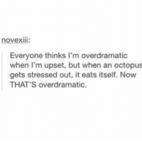 Octopus, Now, and Upset: novexIII:  Everyone thinks I'm overdramatic  when I'm upset, but when an octopus  gets stressed out, it eats itself. Now  THAT'S overdramatic.