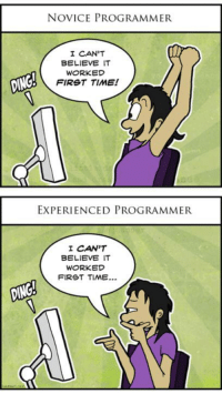 True?: NOVICE PROGRAMMER  I CAN'T  BELIEVE IT  WORKED  FIRST TIME!  EXPERIENCED PROGRAMMER  I CAN'T  BELIEVE IT  WORKED  FIRST TIME.. True?