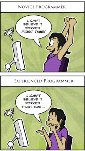 Novice vs Experienced: NOVICE PROGRAMMER  I CAN'T  BELIEVE IT  WORKED  FIRST TIME!  EXPERIENCED PROGRAMMER  I CAN'T  BELIEVE IT  WORKED  FIRST TIME... Novice vs Experienced