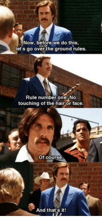 Anchorman: Now, before we do this,  let's go over the ground rules.  Rule number one: No  touching of the hair or face.  Of course  And that's it! Anchorman