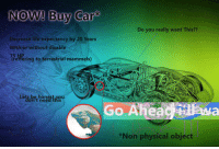 "Life, Reddit, and Physical: NOW! Buy Car  Do you really want This??  Decrease life expectancy by 20 Years  With or without disable  reffering to terrestrial mammels)  Lets be honest.you  on't need this  Go Aheac HMa  od  *Non physical object <p>[<a href=""https://www.reddit.com/r/surrealmemes/comments/7t3jl6/great_deal/"">Src</a>]</p>"