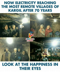 Happiness, Indianpeoplefacebook, and Electricity: NOW ELECTRICITY REACHING  THE MOST REMOTE VILLAGES OF  KARGIL AFTER 70 YEARS  LAUGHING  LOOK AT THE HAPPINESS IN  THEIR EYES