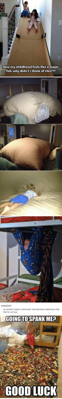 Why didn't I think of these things as a kid? 😩 https://t.co/egA1IaS66T: Now my childhood feels like a major  fail, why didn't I think of this???   prepaidwifi:  my brother made a 'hammock' and has been watching tv like  that for an hour   GOING TO SPANK ME?  GOODLUCK Why didn't I think of these things as a kid? 😩 https://t.co/egA1IaS66T