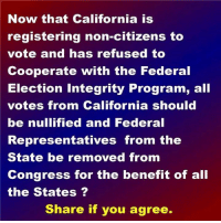 Memes, California, and Integrity: Now that California is  registering non-citizens to  vote and has refused to  Cooperate with the Federal  Election Integrity Program, all  votes from California should  be nullified and Federal  Representatives from the  State be removed from  Congress for the benefit of all  the States?  Share if you agree.