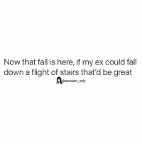 SarcasmOnly: Now that fall is here, if my ex could fall  down a flight of stairs that'd be great  Aesarcasm only SarcasmOnly