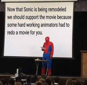 Animators: Now that Sonic is being remodeled  we should support the movie because  some hard working animators had to  redo a movie for you.