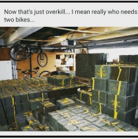 Memes, Bike, and 🤖: Now that's just overkill... I mean really who needs  two bikes... Merica