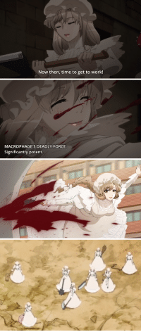 "Fucking, Shit, and Target: Now then, time to get to work!   MACROPHAGE'S DEADLY FORCE:  Significantly potent. <p><a href=""http://winged-wasabi.tumblr.com/post/176144397242/keep-yourself-healthy-to-help-your-macrophages"" class=""tumblr_blog"" target=""_blank"">winged-wasabi</a>:</p><blockquote><p>keep yourself healthy to help your macrophages beat the absolute shit out of antigens entering your body with the biggest fucking weapons known to microscopic organisms</p></blockquote>"