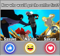 Rattled: Now who would get the rattles first?  a Shisui.uchiha  Sasuke Naruto Sakura