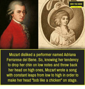 "Funny, Head, and Chicken: NOW YOU KNOW  Mozart disliked a performer named Adriana  Ferrarese del Bene. So, knowing her tendency  to drop her chin on low notes and throw back  her head on high ones, Mozart wrote a song  with constant leaps from low to high in order to  make her head ""bob like a chicken"" on stage. Mozart was a Mad Lad himself via /r/funny https://ift.tt/2NguTxT"