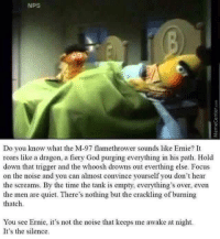 "<p>Wow 🅱️ert (by huffmanm16 ) via /r/dank_meme <a href=""http://ift.tt/2rKm4VI"">http://ift.tt/2rKm4VI</a></p>: NPS  Do you know what the M-97 flamethrower sounds like Ernie? It  roars like a dragon, a fiery God purging everything in his path. Hold  down that trigger and the whoosh drowns out everthing else. Focus  on the noise and you can almost convince yourself you don't hear  the screams. By the time the tank is empty, everything's over, even  the men are quiet. There's nothing but the crackling of burning  thatch  You see Ernie, t's not the noise that keeps me awake at night.  It's the silence. <p>Wow 🅱️ert (by huffmanm16 ) via /r/dank_meme <a href=""http://ift.tt/2rKm4VI"">http://ift.tt/2rKm4VI</a></p>"