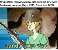 Soldiers, American, and Chinese: NRA Soldier receiving a new rifle from the american  lend lease program (Circa 1943, Colourized 2018)  anda kore wa