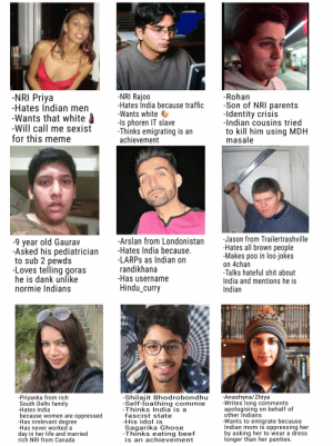 Unable to find the funny: -NRI Rajoo  -Hates İndia because traffic  -Wants white  -Is phoren IT slave  -Thinks emigrating is an  achievement  -NRI Priya  -Hates Indian men  -Wants that white  -Will call me sexist  for this meme  -Rohan  -Son of NRI parents  -Identity crisis  -Indian cousins tried  to kill him using MDH  masale  -Jason from Trailertrashville  -Hates all brown people  -Makes poo in loo jokes  on 4chan  -Talks hateful shit about  India and mentions he is  Indian  -Arslan from Londonistan  -Hates India because.  -LARPS as Indian on  randikhana  -Has username  Hindu_curry  -9 year old Gaurav  -Asked his pediatrician  to sub 2 pewds  -Loves telling goras  he is dank unlike  normie Indians  -Anashyna/Zhiya  -Writes long comments  apologising on behalf of  other Indians  -Wants to emigrate because  Indian mom is oppressing her  by asking her to wear a dress  longer than her panties.  -Priyanka from rich  South Delhi family  -Hates India  because women are oppressed  -Has irrelevant degree  -Has never worked a  day in her life and married  rich NRI from Canada  -Shilajit Bhodrobondhu  -Self-loathing commie  -Thinks India is a  fascist state  -His idol is  Sagarika Ghose  -Thinks eating beef  is an achievement Unable to find the funny
